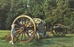 Shiloh TN, Civil War Battlefield Park, Cannon, Artillery, 1960's, Boy Playing