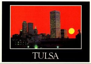 Oklahoma Tulsa Skyline At Sunset