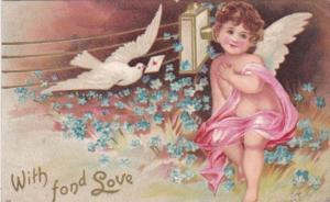 Valentine's Day Cupid With Dove Delivering Letter