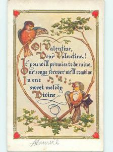 Pre-Linen valentine HUMANIZED MALE BIRD HAS TOPHAT HAT AND MONOCLE HJ2740