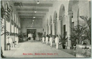 Vintage 1910s Manila, PHILIPPINES Postcard Main Lobby, MANILA HOTEL Unused