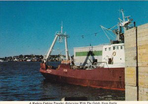Canada Modern Fishing Trawler Returning With Catch Lunenberg Nova Scotia