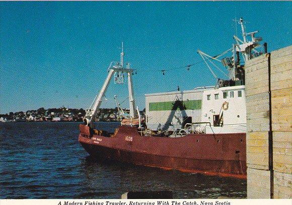 Canada Modern Fishing Trawler Returning With Catch Lunenberg Nova Scotia