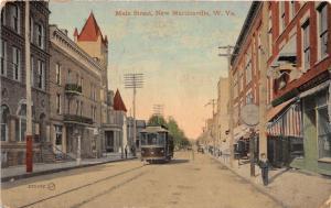E95/ New Martinsville West Virginia Postcard c1910 Main St Trolley Store