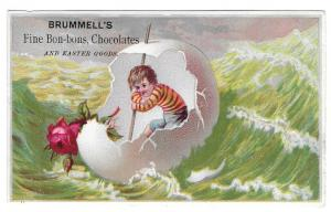 Victorian Trade Card Brummells Chocolate Boy Egg Shell Boat