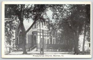 Warren Illinois~Presbyterian Church Thru Trees on Corner~House Behind~1929 B&W