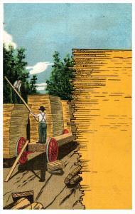 16383  Artist drawn stacking wood sawmill