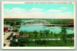 Brownsville Texas~International Bridge~Birdseye Side View~Main Street~1929 PC