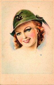 Beautiful Lady Wearing Green Hat
