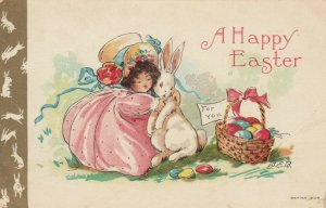 A Happy EASTER, 1900-10s; Girl in poofy pink dress hugging rabbit, AS; B.E.B.