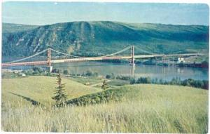 Dunvegan Bridge, 1960 Suspension, Peace River, Alberta, AB, Canada, Chrome