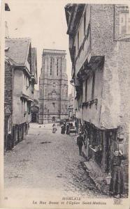 France Morlaix La Rue Basse et l'Eglise Saint-Mathieu