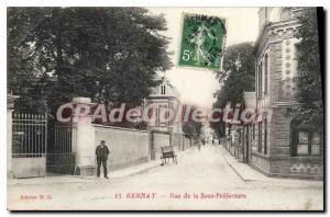 Old Postcard Bernay Rue De La Sous Prefecture