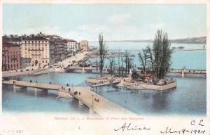 GENEVE GENEVA SWITZERLAND LLE J J ROUSSEAU et PONT des BERGUES~CPN POSTCARD 1904