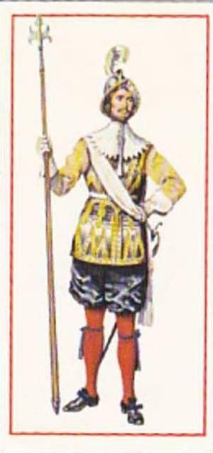 Carreras Vintage Cigarette Card Military Uniforms 1976 No 3 Pikeman 1660 King...