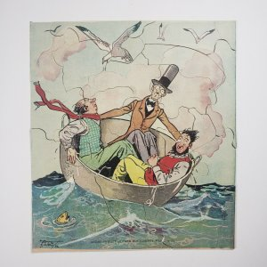Montgomery Ward & Co Christmas Mail Premium Puzzle Vintage 3 Men In A Tub TopHat
