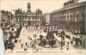 Old Postcard Lyon Place Bellecour, Hotel de Ville and the Palace of Arts