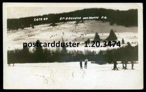 3474- ST. SAUVEUR DES MONTS Quebec 1953 Skiing Winter Sport. Real Photo Postcard