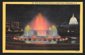 Capitol Plaza Lighted Fountain Washington DC unused c1933