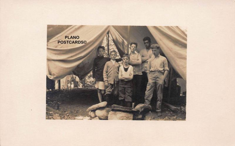 BOYS CAMP OUT-EARLY 1900'S RPPC REAL PHOTO POSTCARD
