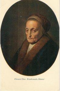 Gerard Dou. Rembrand's Mother  Fine painting, vintage German Postcard
