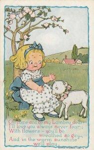 Viola Grace Gebbie Wiederseim Drayton; Girl & Lamb , 1900-10s