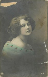 Lovely lady postcard retro hairstyle coiffure