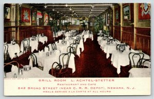 Newark NJ~L Achtel-Stetter Grill Room~Cafe Restaurant~A La Carte All Hours~1910