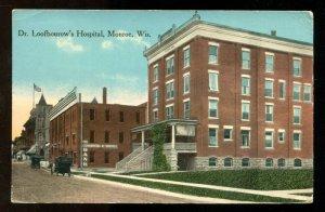 dc557 - MONROE Wis 1910s Dr Loofbourow's Hospital. Bank. Postcard