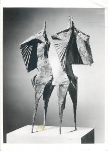 Postcard art Winged Figures 1955 bronze sculpture Lynn Chadwick