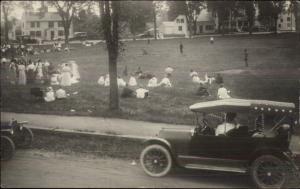 Clintonville (NY ?) Old Car at Baseball Game c1910 Real Photo Postcard #2