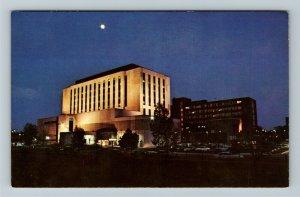Muncie IN- Indiana, Ball Memorial Hospital, IU Health, Night, Chrome Postcard