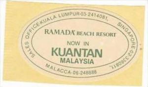 MALAYSIA KUANTAN RAMADA BEACH RESORT HOTEL VINTAGE LUGGAGE LABEL
