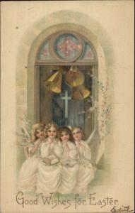 Easter Beautiful Angel Children Ringing Bells c1910 Postcard