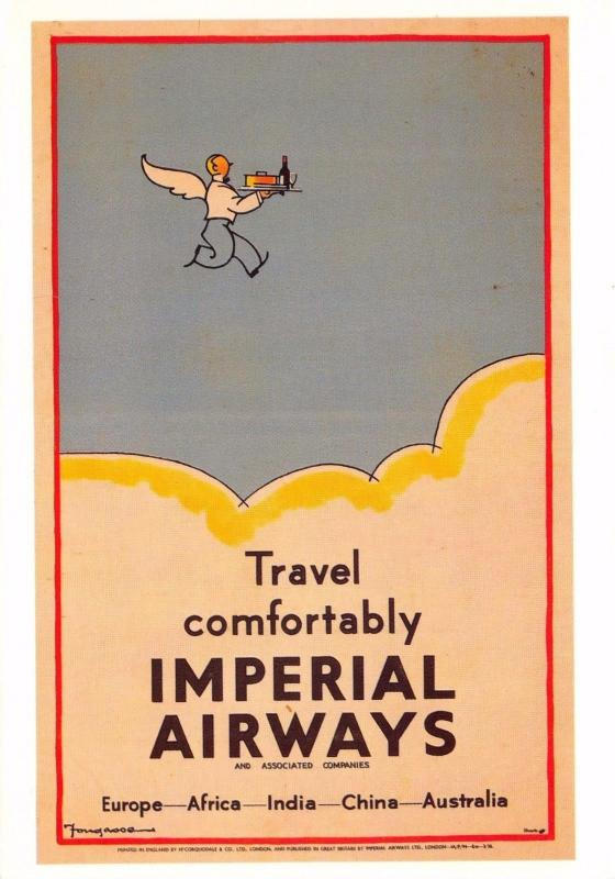 Postcard Travel Comfortably Imperial Airways Repro Advertising Card