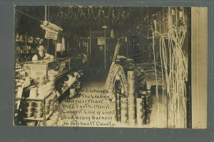 Blue Earth MINNESOTA RPPC c1910 INTERIOR HARNESS SHOP Occupational ADVERTISING