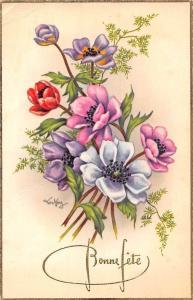 Bonne Fete! Happy Birthday! Purple Red Poppy Flowers, Signed Postcard