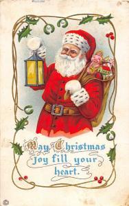 F61/ Santa Claus Merry Christmas Holiday Postcard c1910 Lantern Toys 12