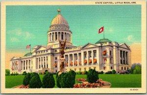 1940s Little Rock, Arkansas Postcard STATE CAPITOL Curteich Linen Unused