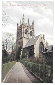 UK Oxford Merton College St Johns Church Vintage Postcard