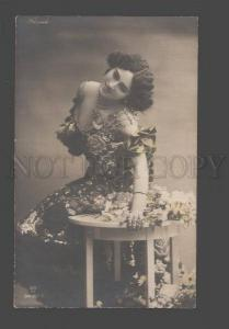 091602 FLORIDO Famous DANCER in Flowers Vintage PHOTO tinted