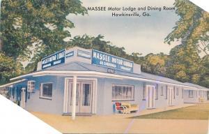 Hawkinsville GA~Massee Motor Lodge and Dining Room~1950s Postcard