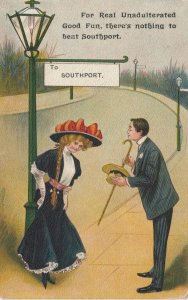 SOUTHPORT, England, 1900-10s; Man inviting young lady to Good Fun