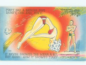 Linen Risque signed MAN ADMIRES BIKINI GIRL ON DIVING BOARD AB6374
