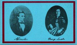 Springfield IL Lincoln Portrait Mary Todd Postcard unused (21272)