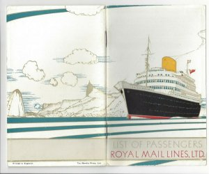 ROYAL MAIL LINES, LTD., R. M. S. ANDES, 1951; List of Passengers Booklet