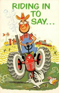 Farmer Tractor We Miss You Sunday School Psalm 25:4 c1950s Vintage Postcard