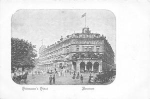 Bremen Germany~Hillmann's Hotel & Street Scene~Horse & Buggy~c1905 B&W Postcard