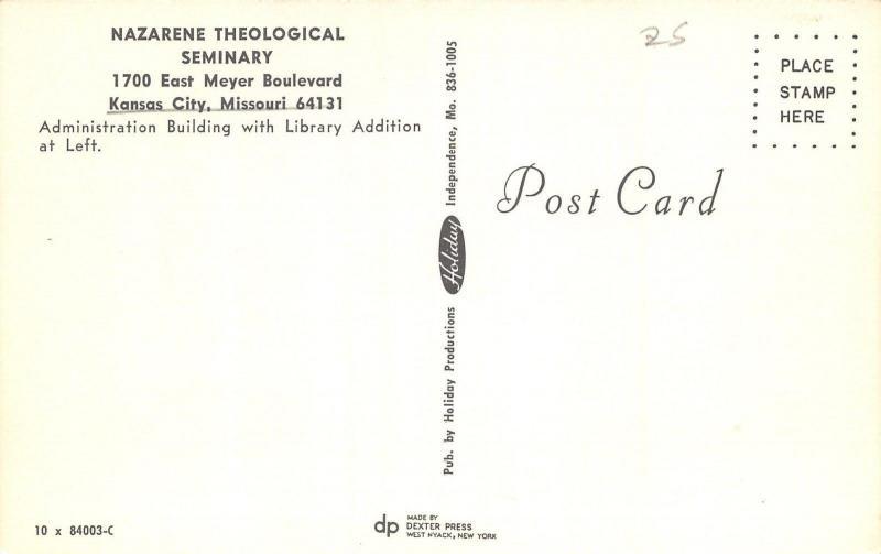 Kansas City Missouri~Nazarene Theological Seminary Campus~1950s Postcard
