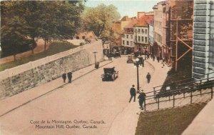 Postcard Canada cote de la montagne quebec mountain hill street cars citizens